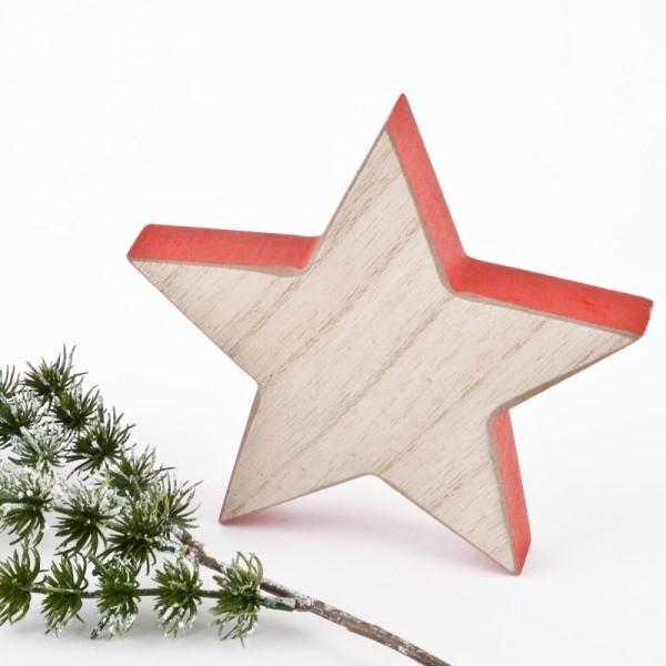 Stern Deko Objekt Holz 12x12x2cm natur rot