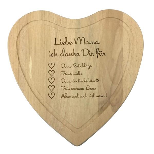 """großes Holz Herz Brett mit Gravur """"Liebe Mama ich Danke dir für..."""""""