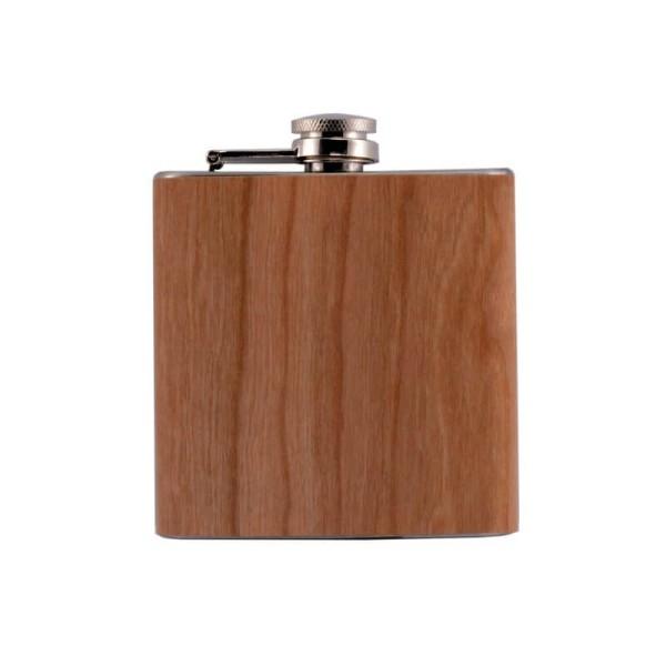 Flachmann aus Edelstahl mit Holz optik