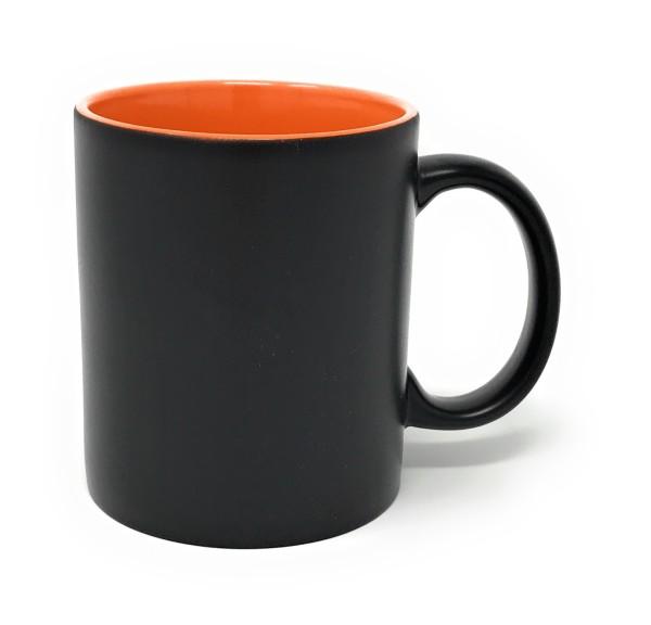 Keramik Tasse matt schwarz - orange Gravur