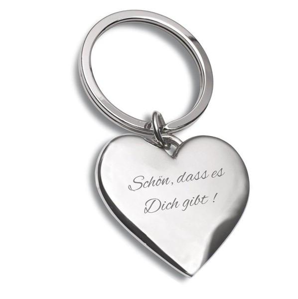 Schlüsselanhänger Herz Silber Schön dass es dich gibt