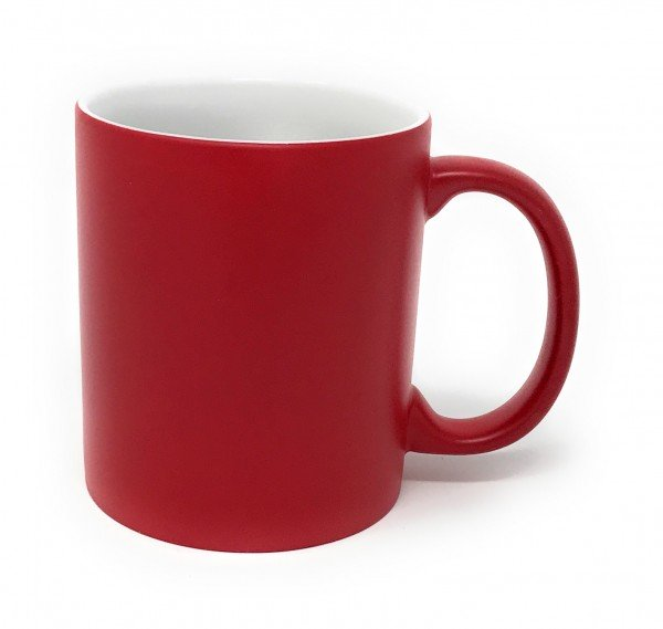 Keramik Tasse rot - weiße Gravur