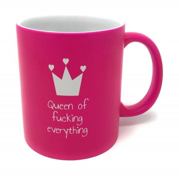 Tasse pink Gravur Queen of fucking everthing