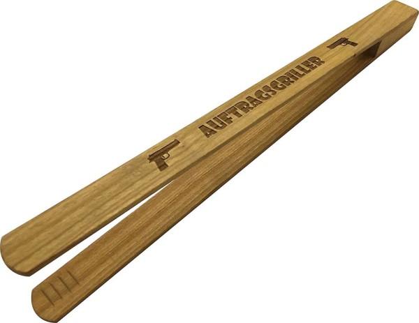 Grillzange 30cm mit Gravur aus Kirschbaum Holz - Auftragsgriller