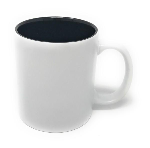 Tasse weiss Gravur schwarz
