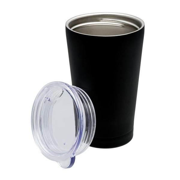 Edelstahlbecher Coffee ToGo Becher schwarz silber gravur