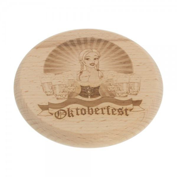 Bierglasdeckel aus Holz mit Gravur 10cm