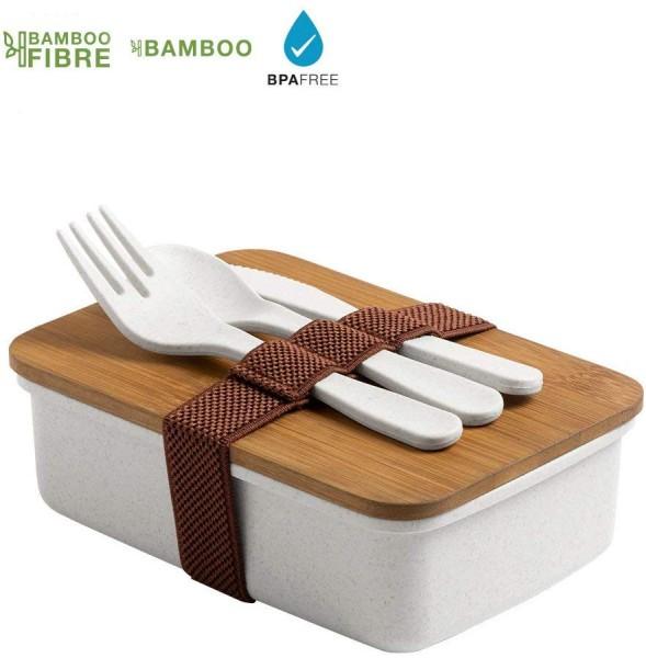 Lunchbox aus Bambusfaser mit Bambusdeckel und Besteck (700ml)
