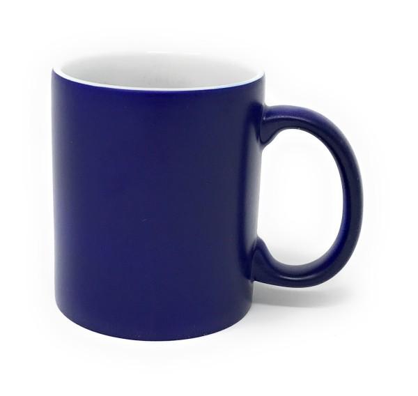 Keramik Tasse blau - weiße Gravur