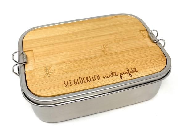 """Lunchbox Elegance aus Edelstahl mit Holzbrettchen """"Sei glücklich"""" aus der Collection """"strolchilein"""""""