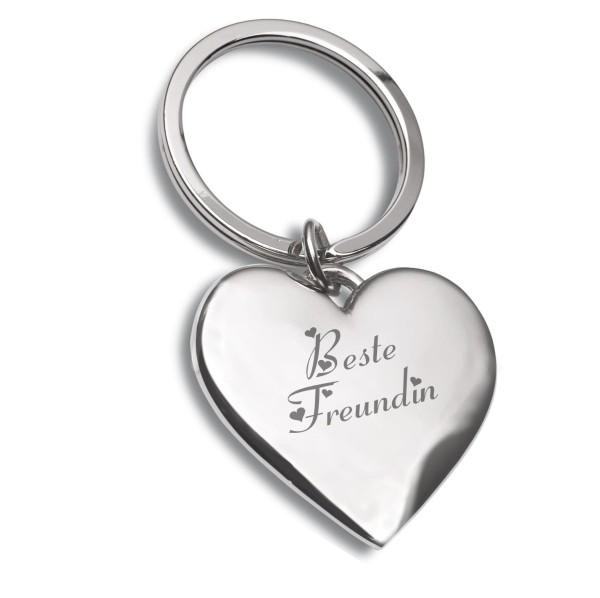 Beste Freundin Schlüsselanhänger silber Metall Herz