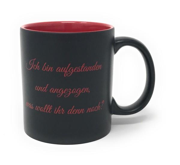 Keramik Tasse matt schwarz - rote Gravur