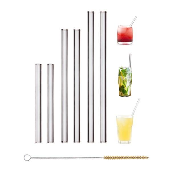 6er Set gemischt Glas Trinkhalm personalisiert mit Gravur