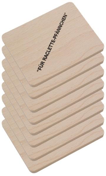 Raclette Untersetzer aus Holz mit Aufdruck 8er Set
