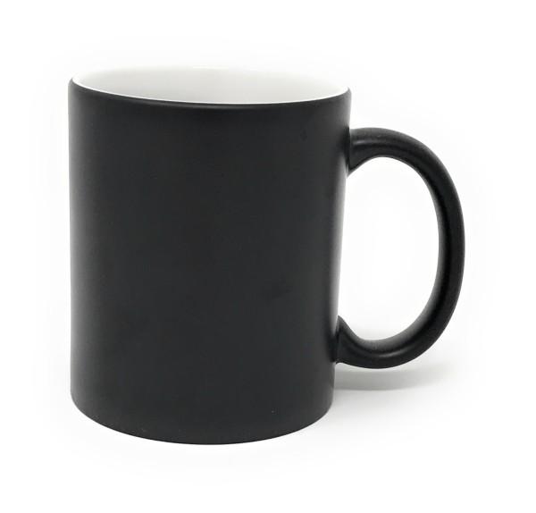 Keramik Tasse schwarz - weiße Gravur