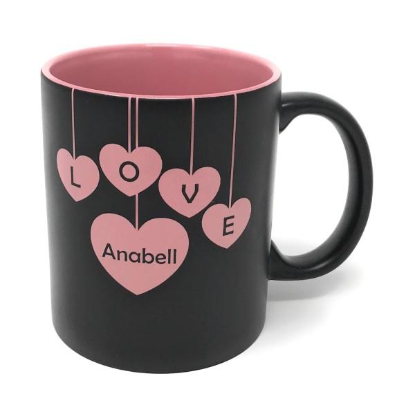 Tasse mit individueller Gravur schwarz rosa