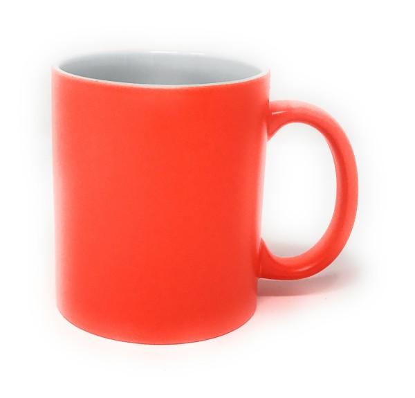 Keramik Tasse orange - weiße Gravur