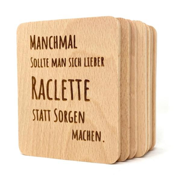 Raclette Untersetzer Holz Gravur Sorgen
