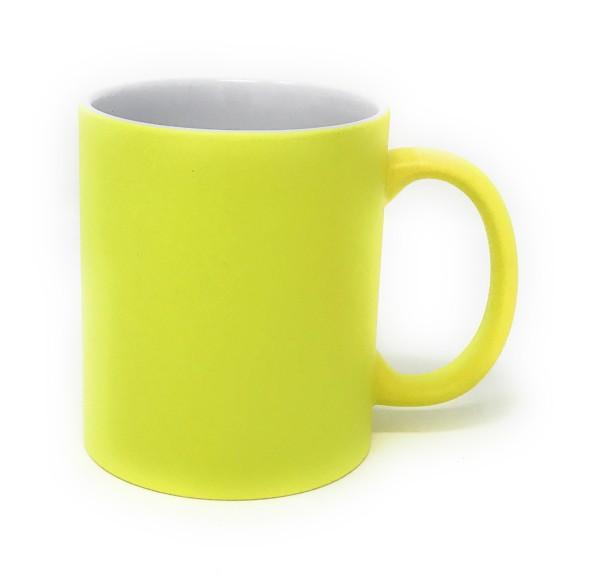 Keramik Tasse gelb - weiße Gravur