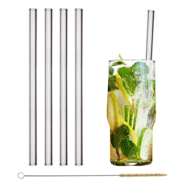 einzelner Trinkhalm aus Glas mit Gravur