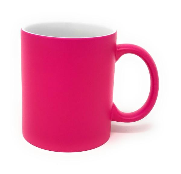 Keramik Tasse pink - weiße Gravur