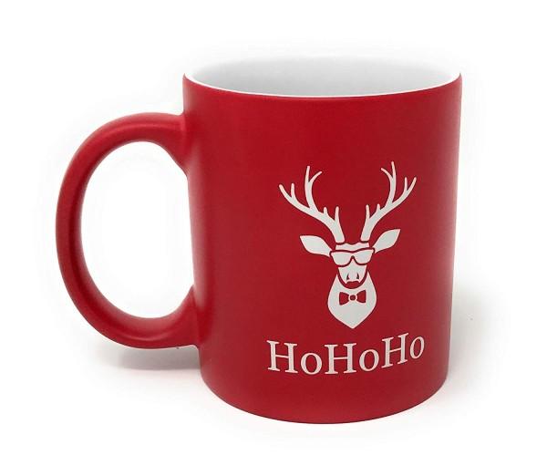 Weihnachtstasse cooler Elche HoHoHo Rot