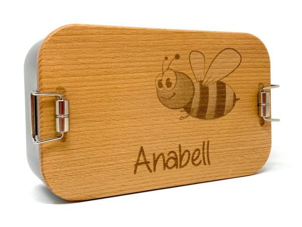 Lunchbox XL aus Weißblech mit Holzdeckel aus Buche und Wunschgravur
