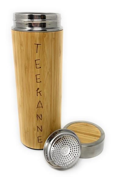 Isolierflasche aus Edelstahl und Bambus mit Teesieb und Gravur